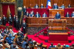Emmanuel Macron, président de la République, parle devant le Parlement réuni en Congrès à Versailles, lundi 3 juillet 2017