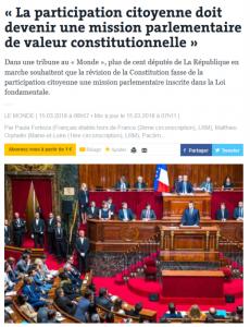 Parution d'une tribune co-signée par plus de 100 députés sur la participation citoyenne – Le Monde